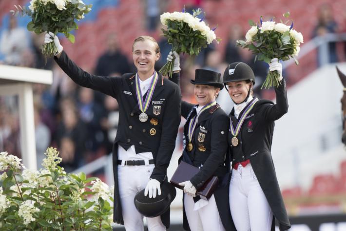 Le podium du Grand Prix Spécial à Göteborg (Crédit photo: FEI/Richard Juillart)